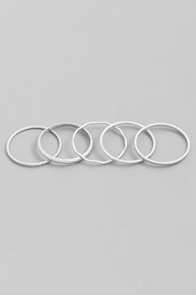 Coveted Thin Silver Stackable Ring Set (5 Pieces)