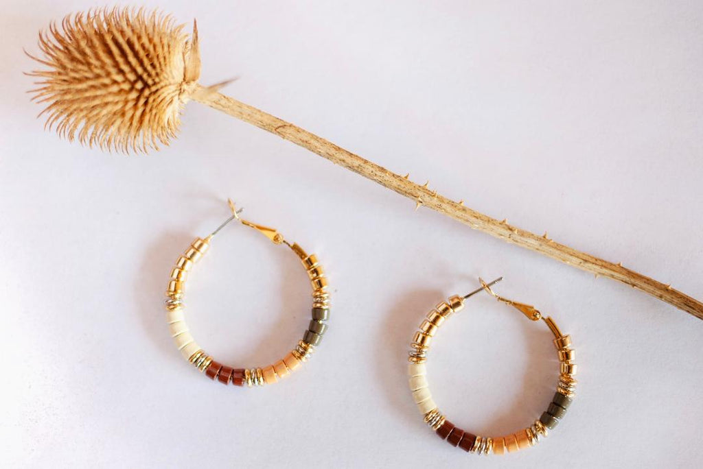 Earth Tone Beaded Hoop Earring