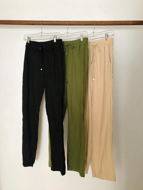 Perfect Linen Pant Available In Olive, Tan and Black