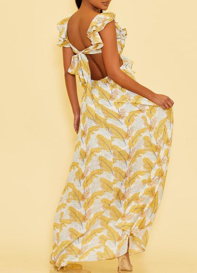 Feather Print Cross Front Maxi Dress