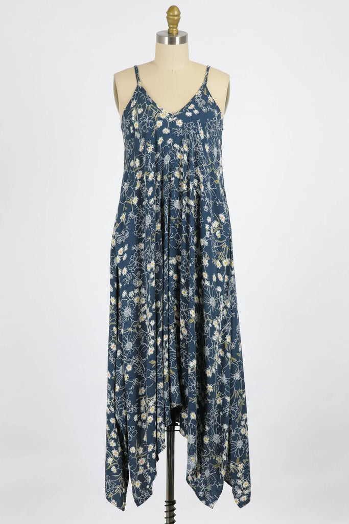 Blue Prairie Flowers Boho Maxi dress