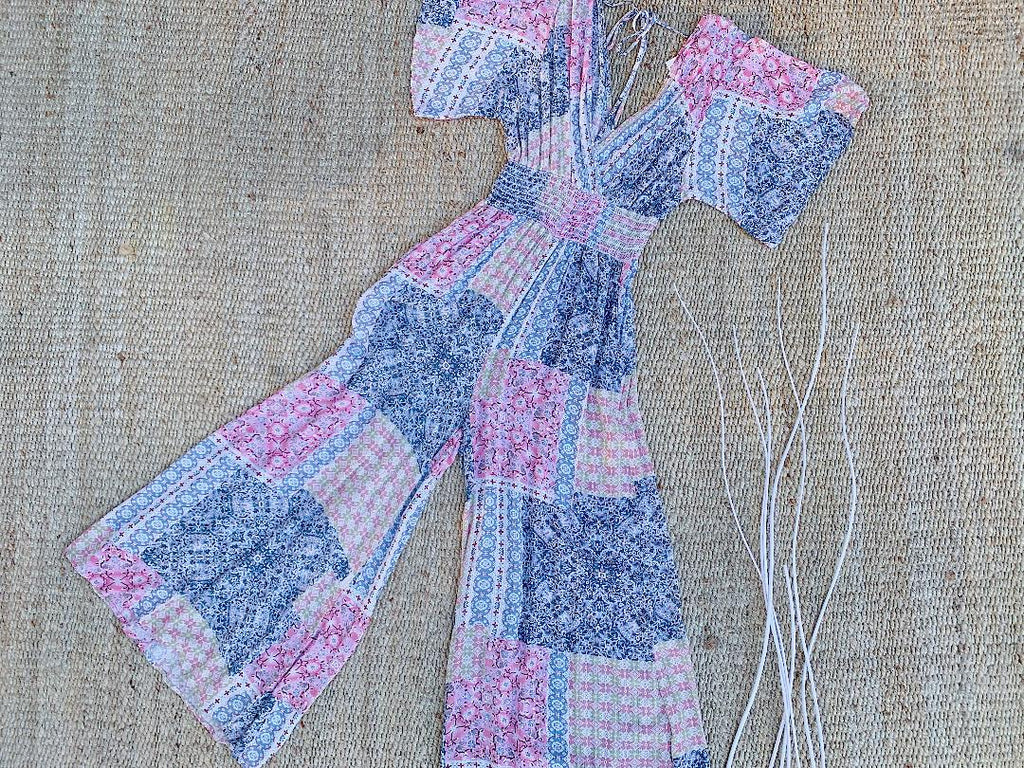 There She Goes Mix Print Jumpsuit in Mauve and Blue
