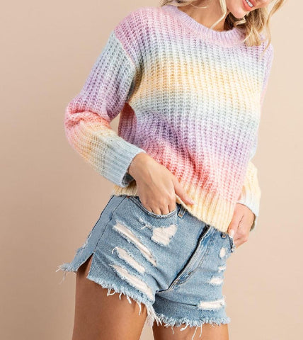 Madison Knit Sweater Top In Sterling Blue
