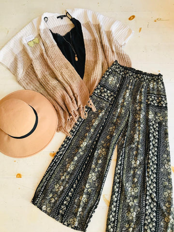 Bohemian Dreams Maxi Skirt In Soft Marigold & Black