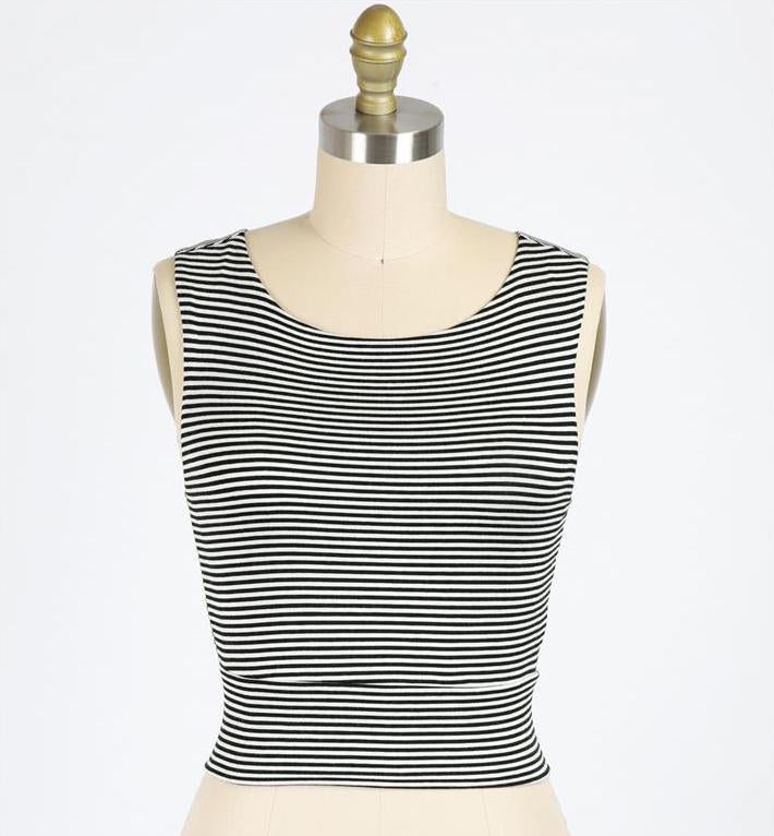 Gondola Ride Black and Ivory Striped Double Layer Crop Top