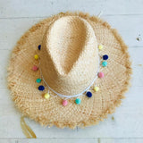 Pom Pom Straw Hat In Natural