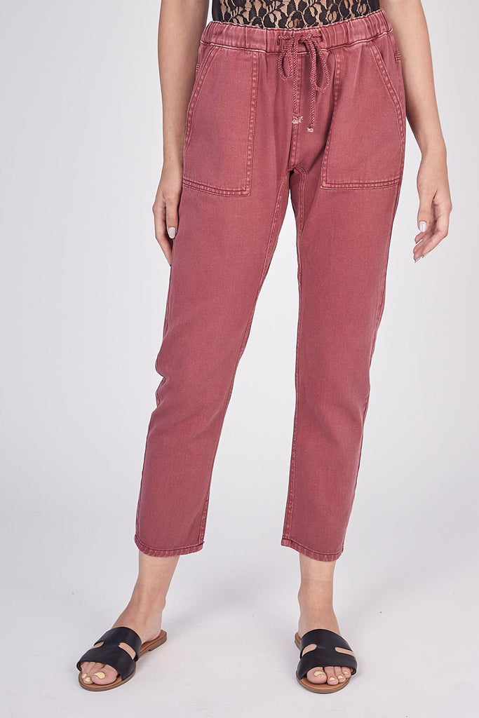 Canvas Twill Slouchy Chic Drawstring Pant In Merlot