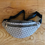 Day Tripper Geo Fanny-Pack Purse in Monochrome Taupe