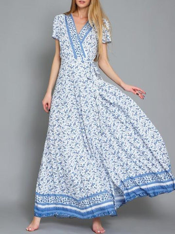 Walking On A Dream Mix Print Wrap Maxi In Blue