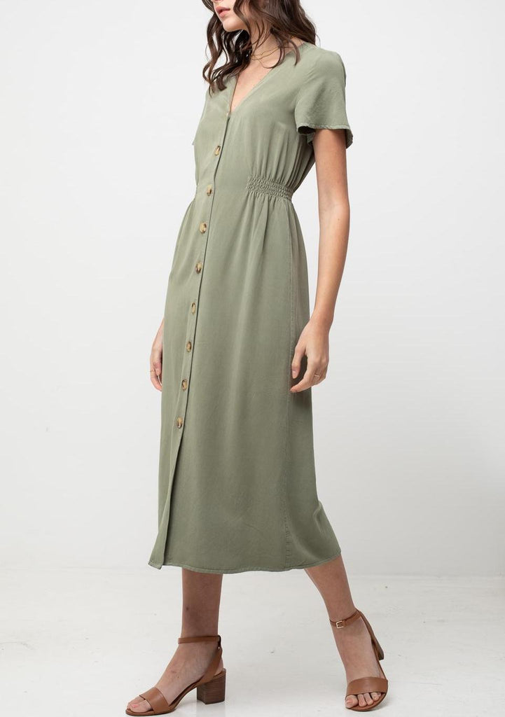 Day Date Dress Button Front Dress In Olive