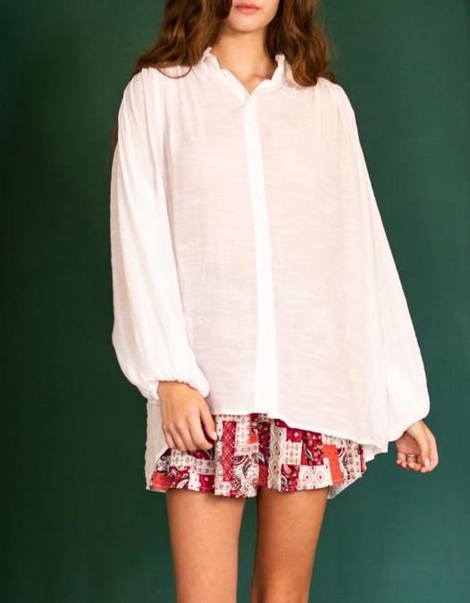 Monet Luxe Boho Poet Blouse In Ivory