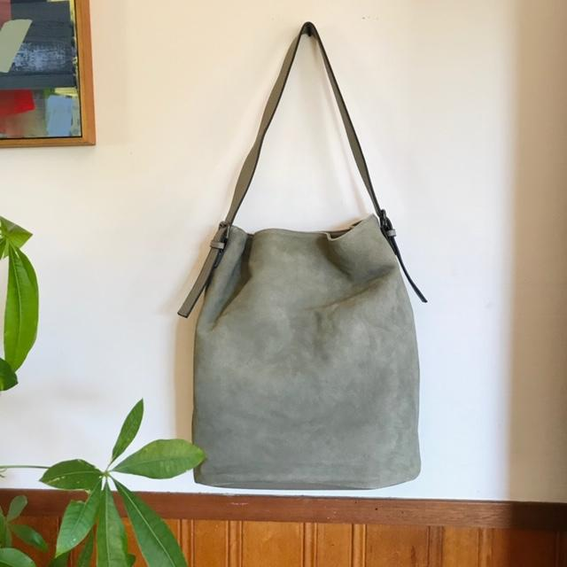 Luxury Oversized Slouchy Leather and Suede Tote Bag In Soft Olive