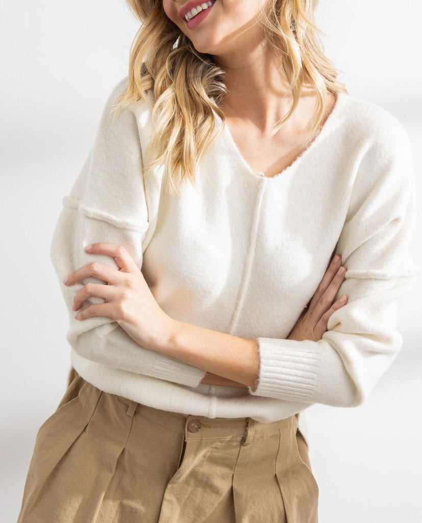 Celine Soft Seam Sweater In Ivory