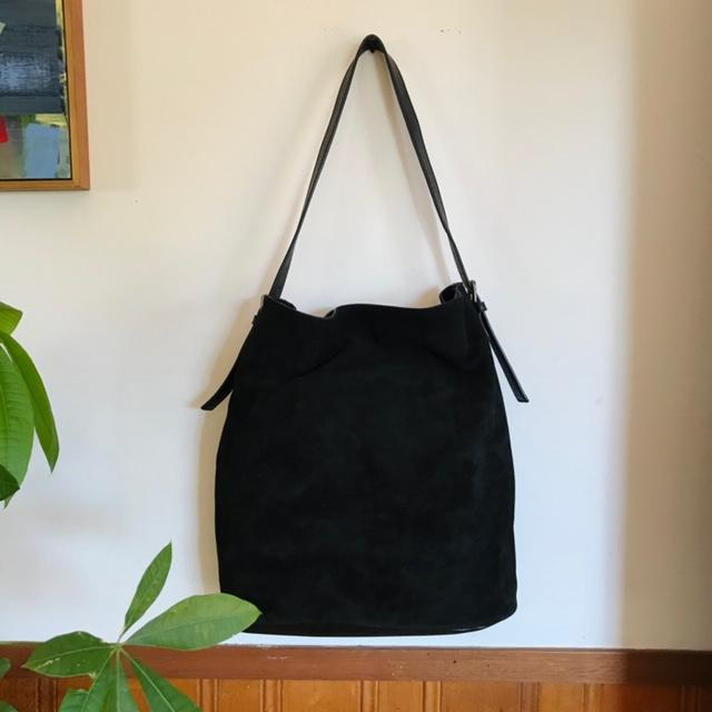 Luxury Oversized Slouchy Leather and Suede Tote Bag In Black