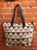 Large Woven Geo Tote In Black Multi