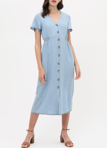 The Vivianne Button Front Tie Waist Dress