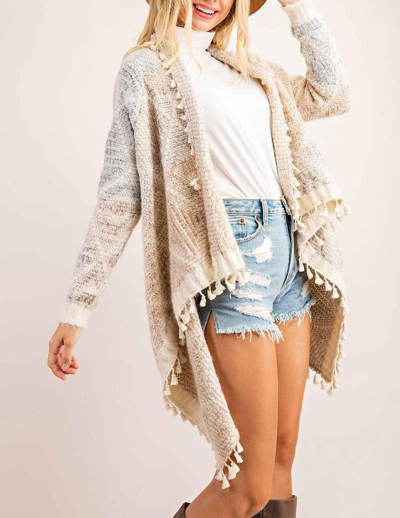 The Amelia Boho Tassel Fringe Sweater Cardigan