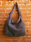 Luxury Oversized Slouchy Chic Leather and Suede Tote Bag In Blue Grey