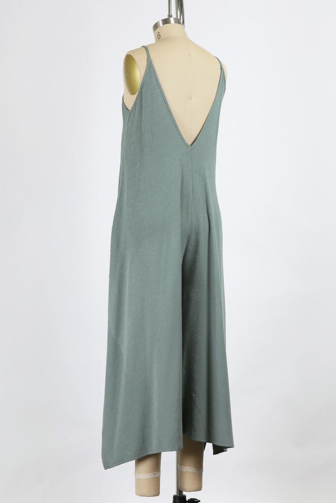 Day Dreamin Easy Chic Jumpsuit In Sage