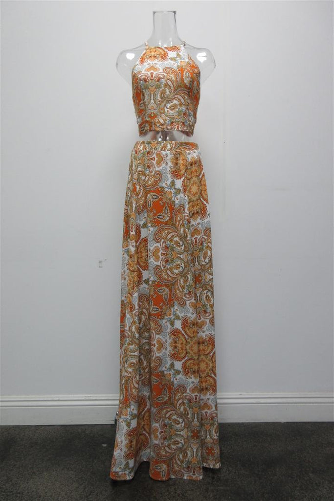 Bohemian Dreams Two Piece Paisley Halter and Maxi Skirt Set