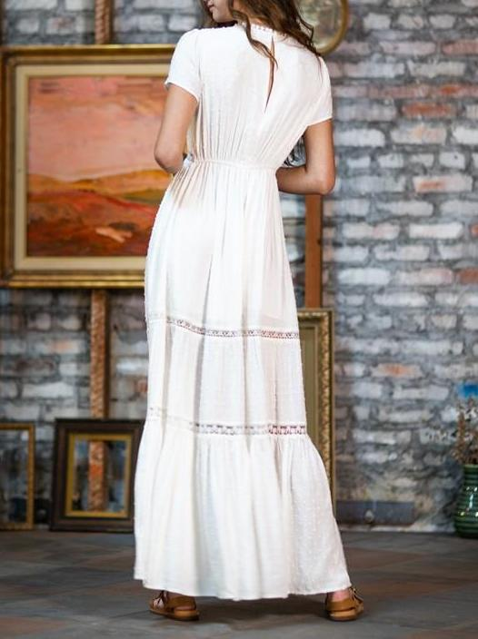 Laurel Canyon Perfect White Cotton & Lace Maxi Dress
