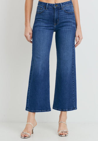 Black High Waist Raw Hem Denim Pant