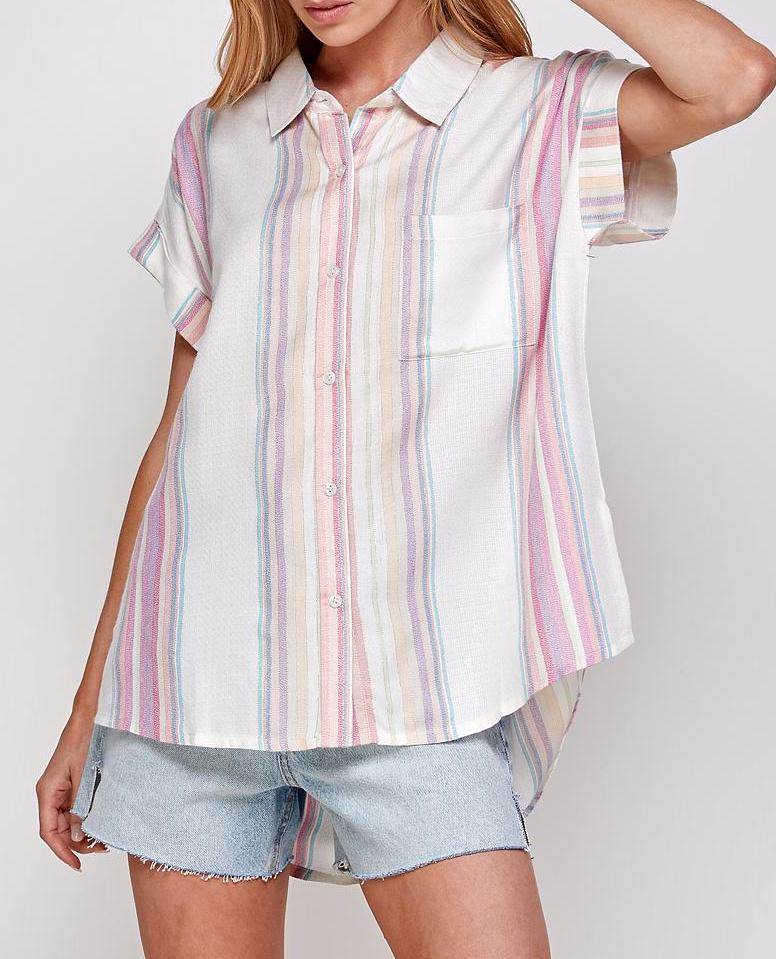 Corrine Pastel Stripe Button Down Top