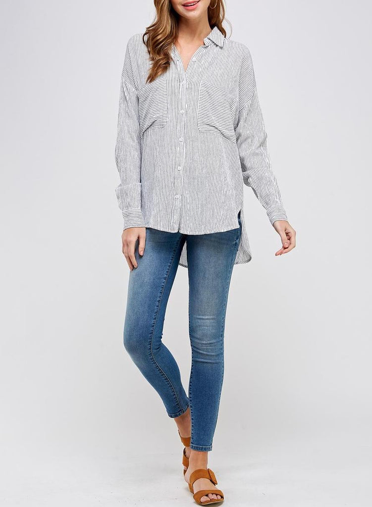 The Noelle Classic PinStripe Button Down