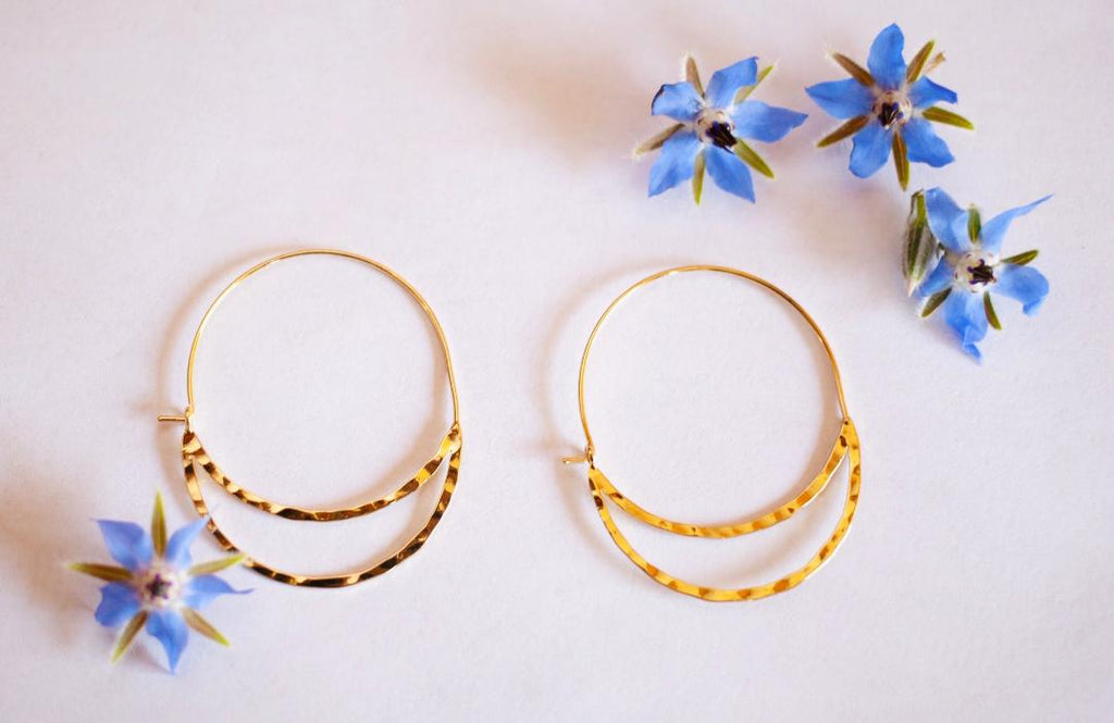 Intricate Half Moon Hoop Earring In Gold