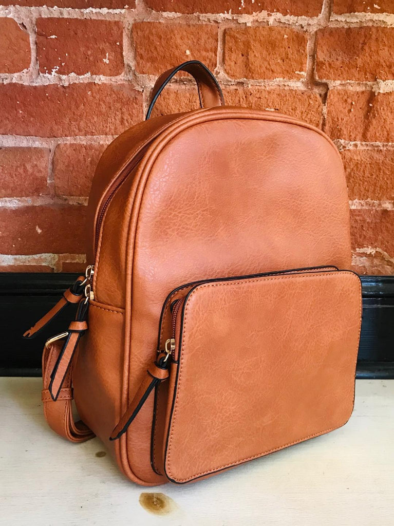 Style Maven Black Vegan Leather Backpack In Brown