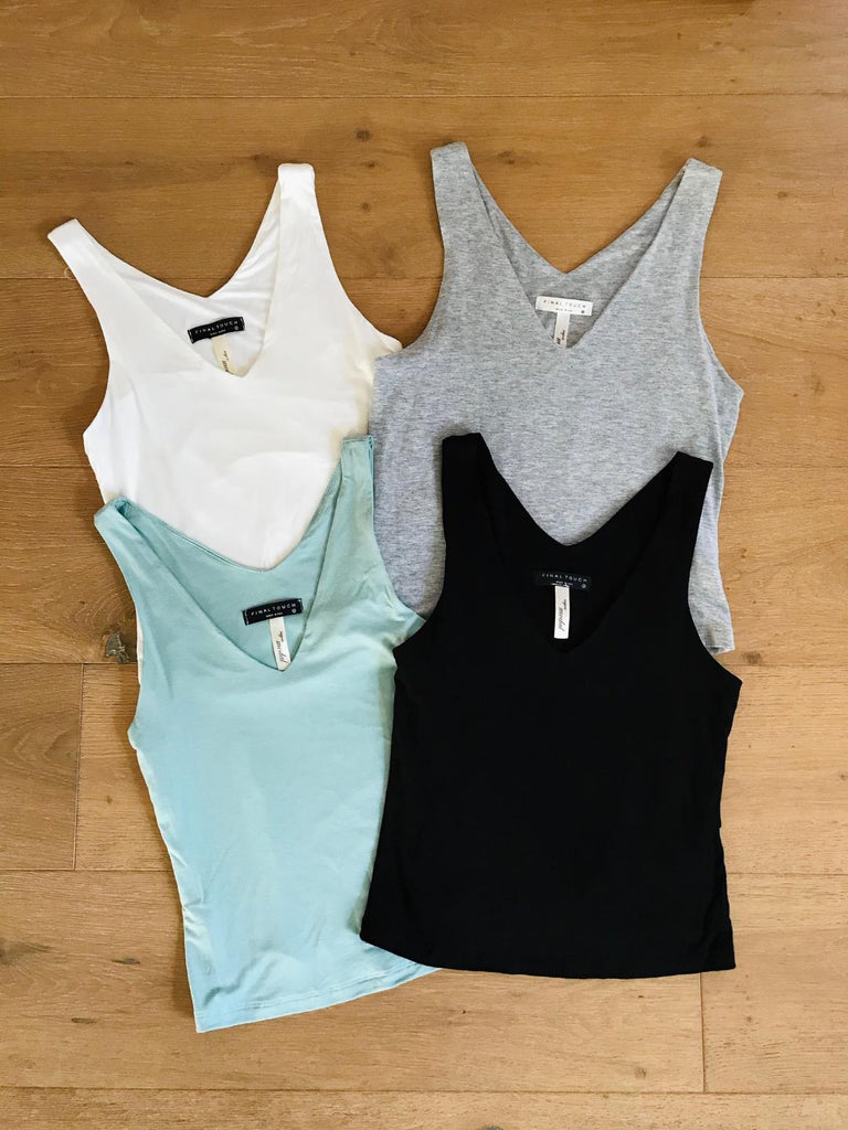 The Madison Best Selling Two Layer V Neck Soft Crop Top 4 Colors