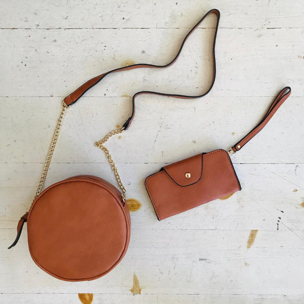 Martine Vegan Leather Circle Purse With Wallet In Brown