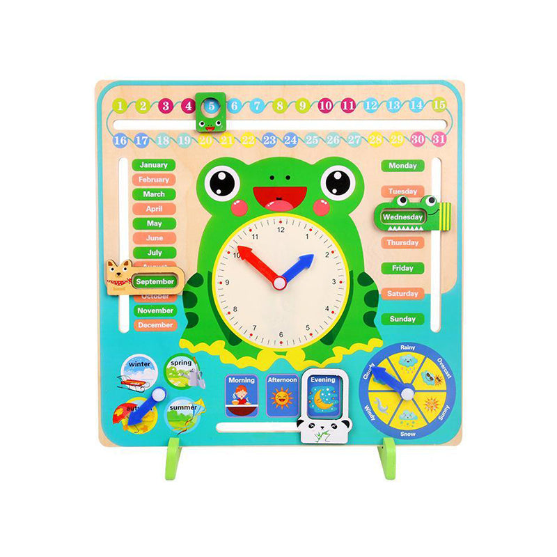 Wooden Cartoon Frog Calendar Clock Toy