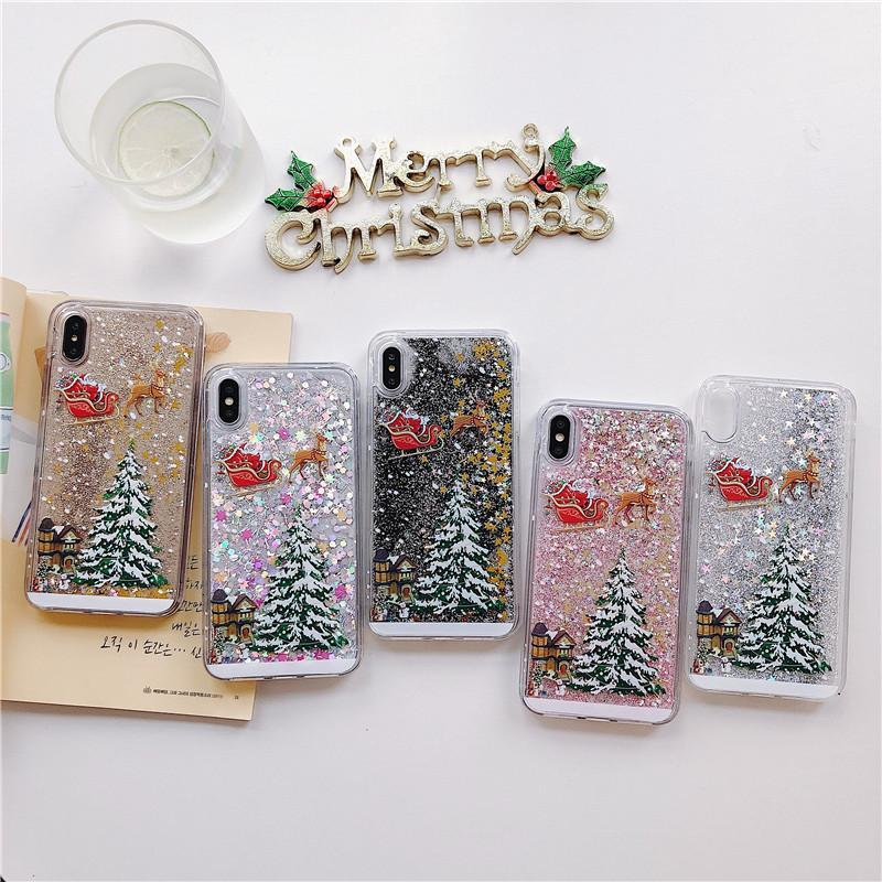 Merry Christmas Bling Liquid Floating Glitter Shiny Luxury Protective Case iPhone Series