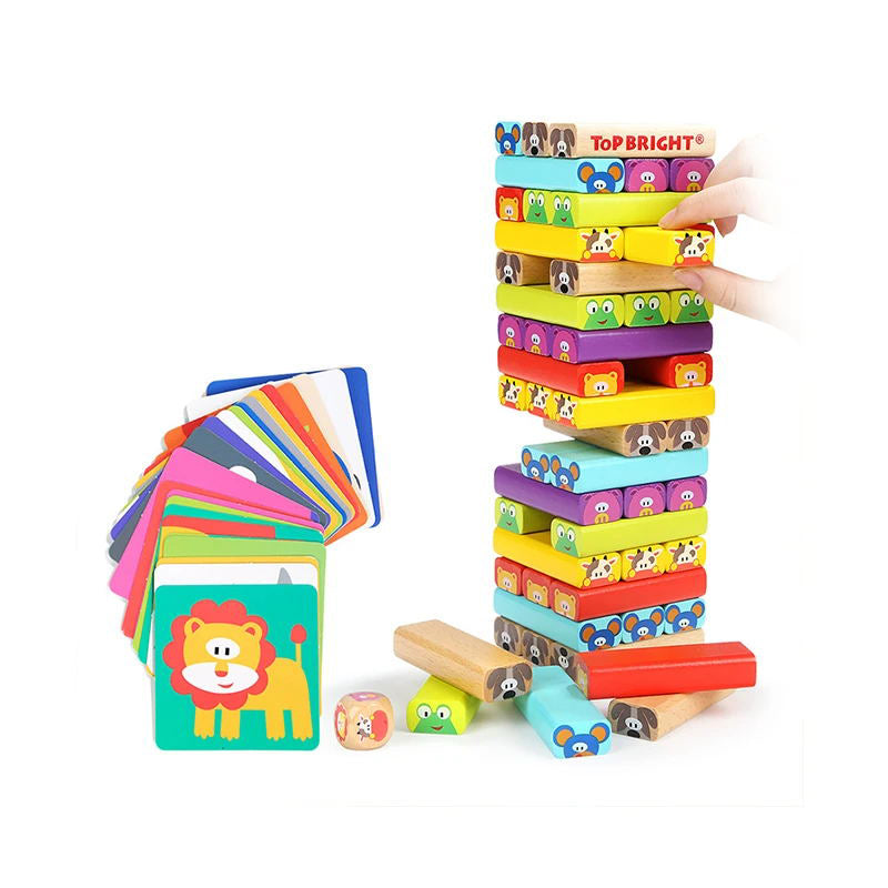 Colored Wooden Blocks Stacking Board - with 51 Pcs