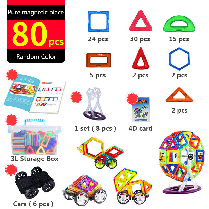 DIY Magnetic building Blocks Set - 180 PCS