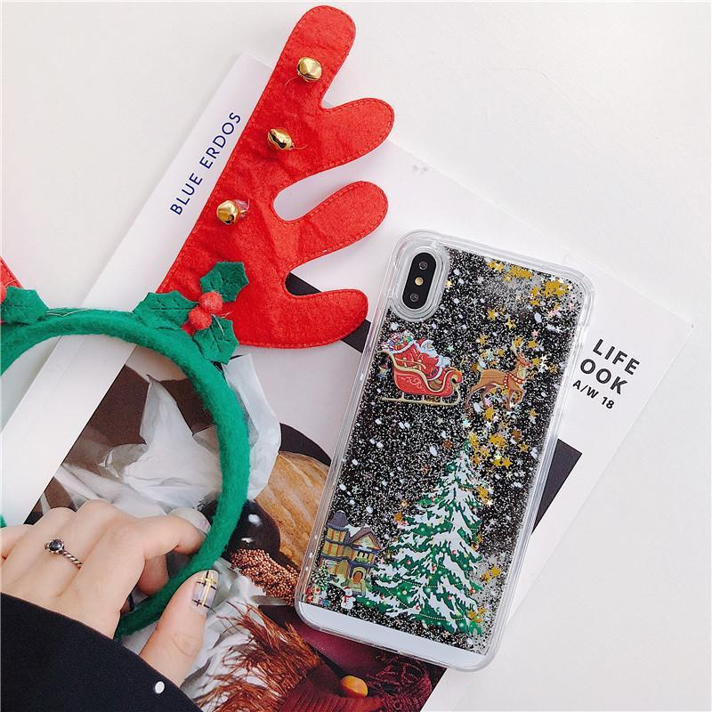 Christmas Bling Liquid Glitter Shiny Luxury iPhone Protective Case