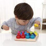 Wooden Color Sorting Stacking Rings Board