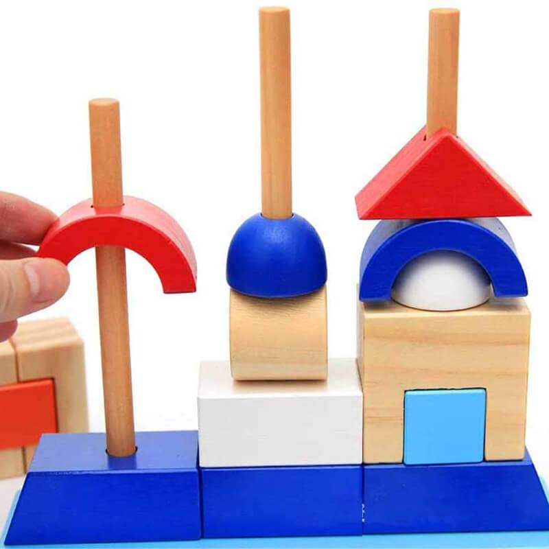 Wooden Sorter Stacking Blocks Games for Kids