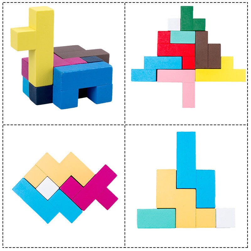 Wooden Tetris - Colorful Early Education Toys Puzzle Game