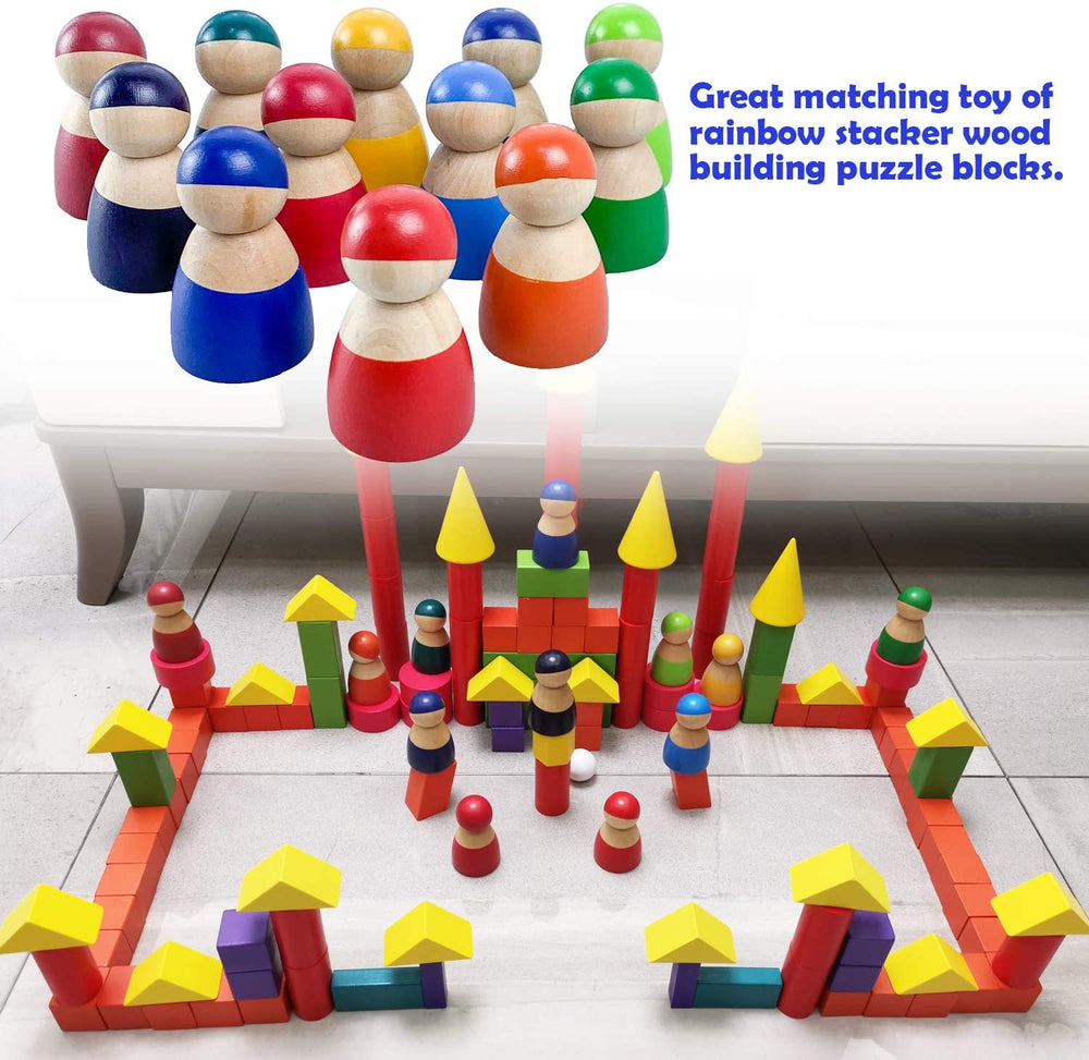 12Pcs Montessori Wooden Rainbow Dolls Toy