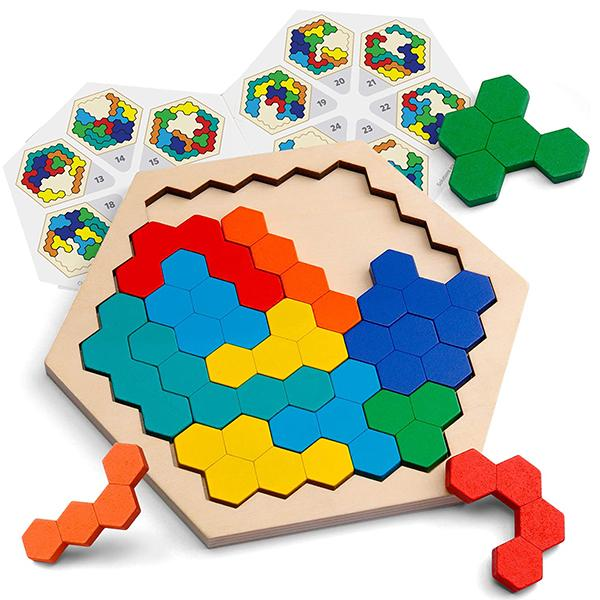 Wooden Hexagon Puzzle Block Tangram Brain Teaser Toy