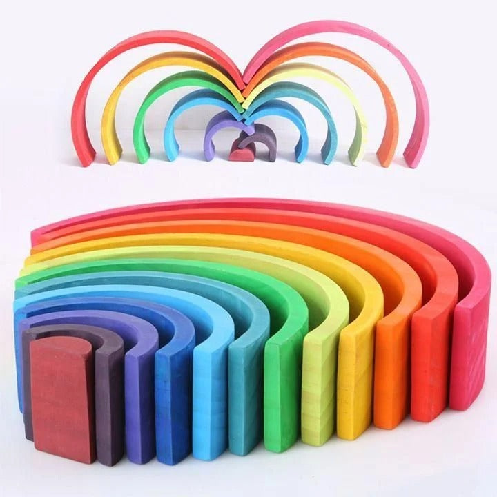 Montessori Handmade Wooden Rainbow Creative Building Blocks
