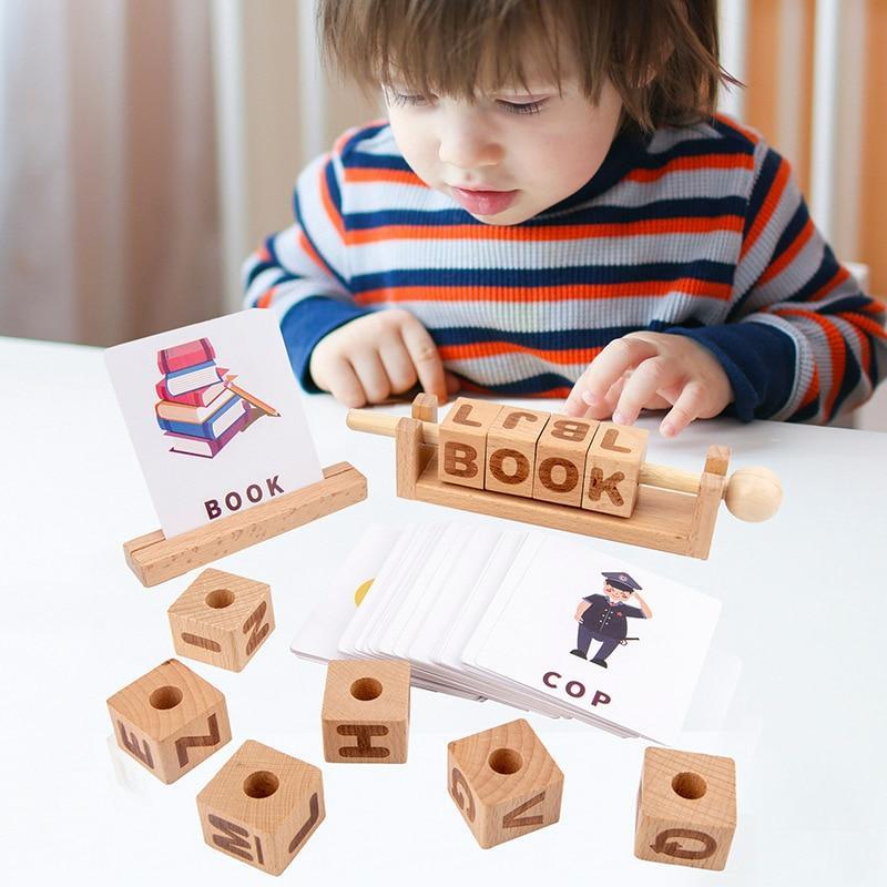 Montessori Wooden Stacking Building 26 Alphabet/Math Counting Blocks (Upgraded) - Kids Birthday Gift