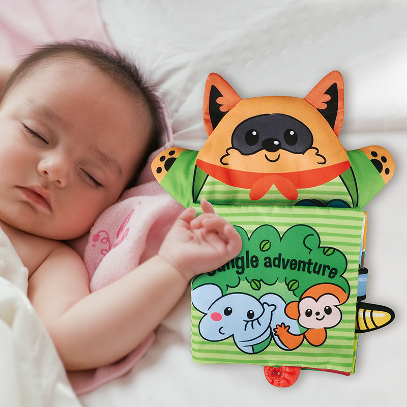 2-IN-1 Newborn Hand Puppet 3D Animals Soft Cloth Books