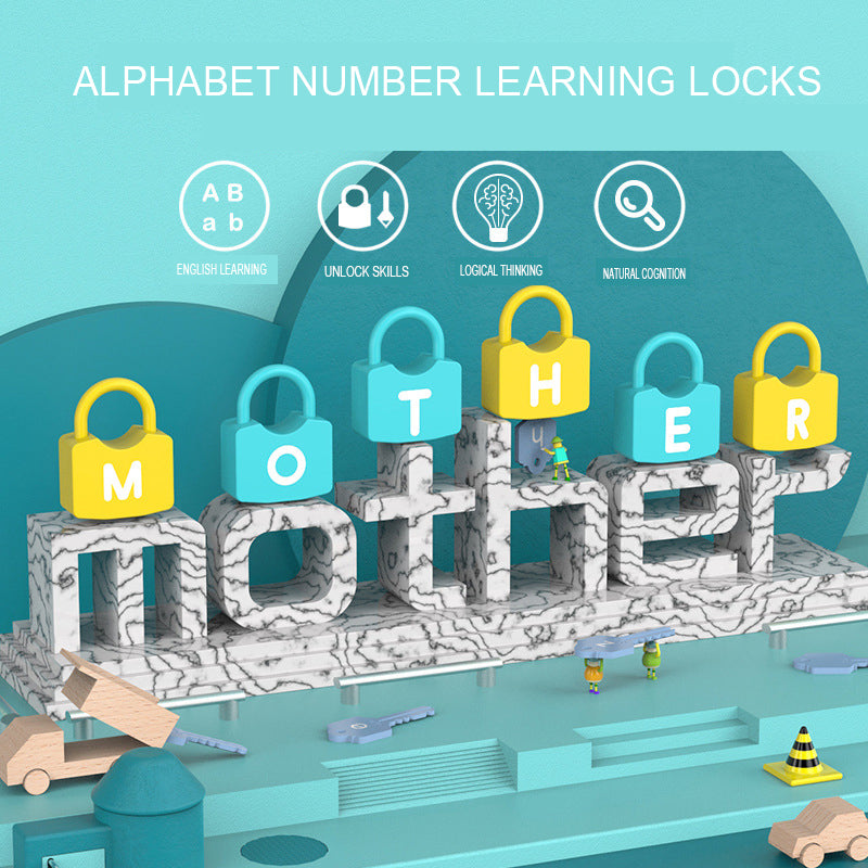 Children Montessori Alphabet Number Learning Locks toys