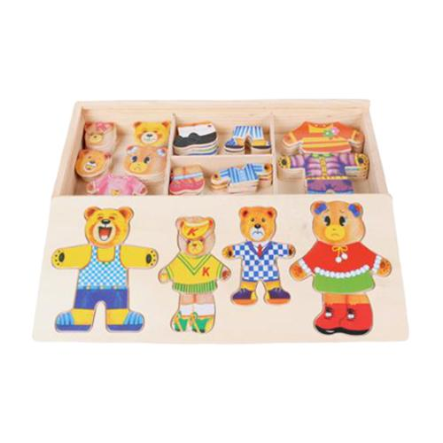 Bear Family Change Clothes Wooden Toy