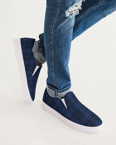 Blue Plaid Men's Slip-On Canvas Shoe