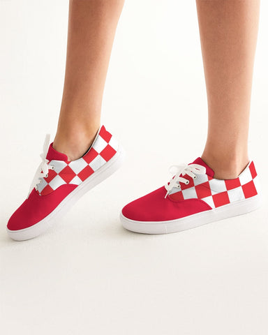 checkered Women's Lace Up Canvas Shoe