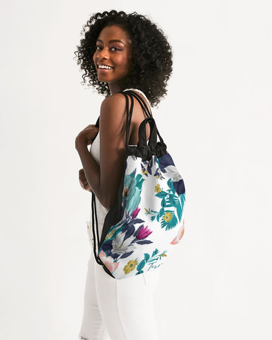 Warm Floral Canvas Drawstring Bag
